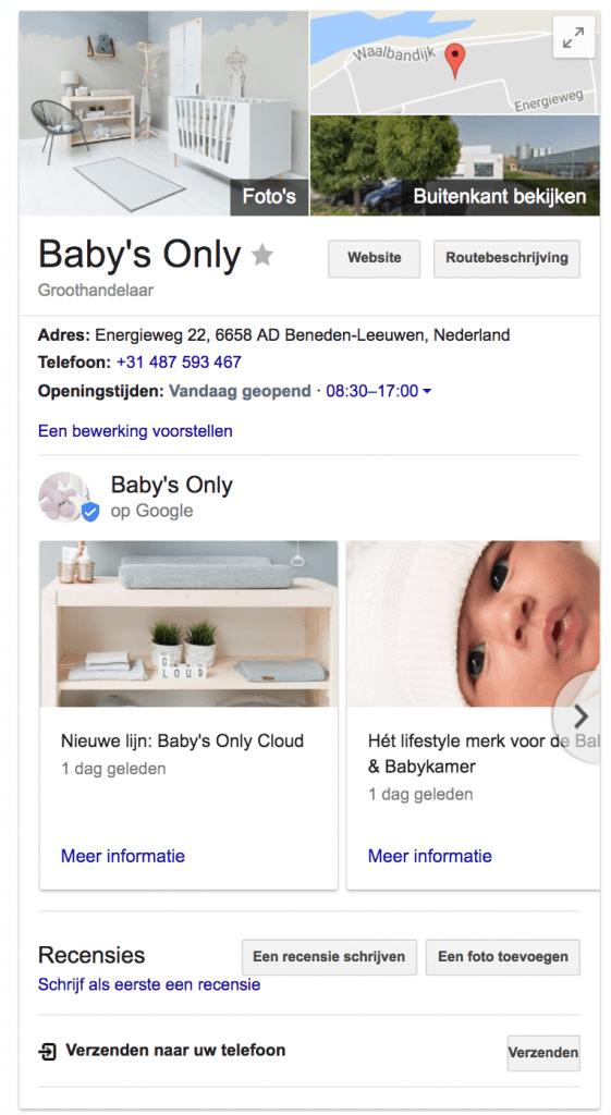 Google mijn bedrijf post Baby's Only voorbeeld