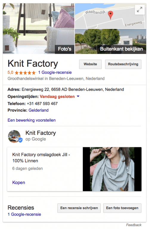 Google mijn bedrijf post Knit Factory voorbeeld