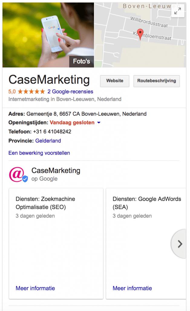 Google Mijn Bedrijf Casemarketing