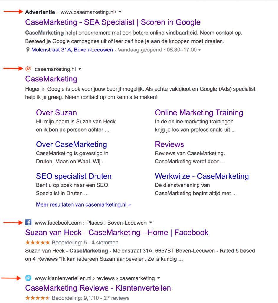 Favicons in Google zoekresultaten