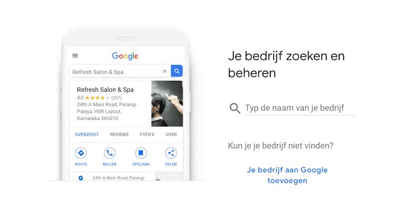 Google My Business bedrijf zoeken