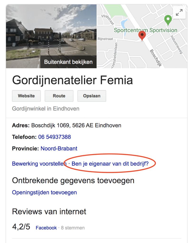 Google Mijn Bedrijf claimen