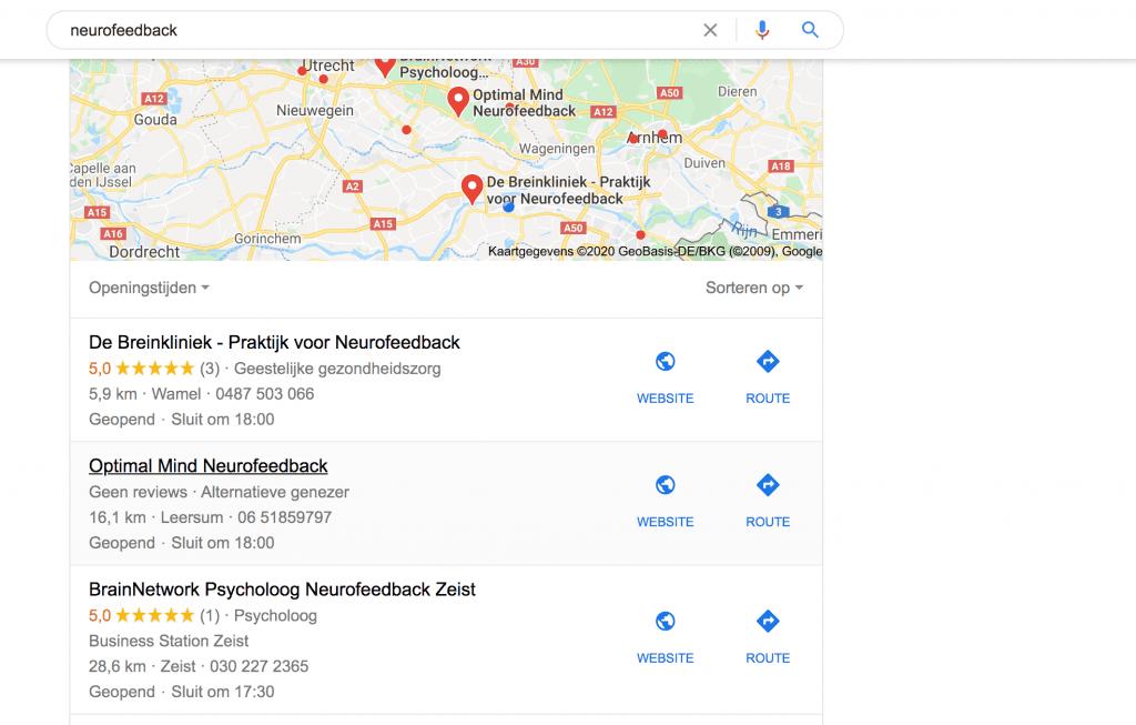 Lokale zoekresultaten Google Mijn Bedrijf