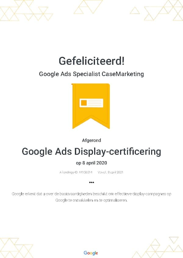 Google Partners Display Certificering