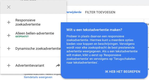 update google ads voorkeur responsieve zoekadvertenties
