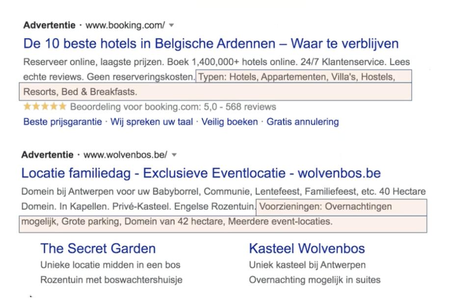 Extensies voor website-informatie voorbeeld