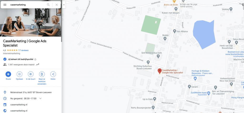 Locatie-extensie in Google Maps voorbeeld