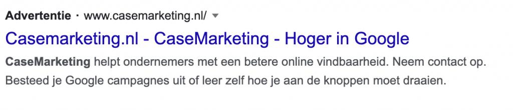 Voorbeeld Google Ads tekstadvertentie
