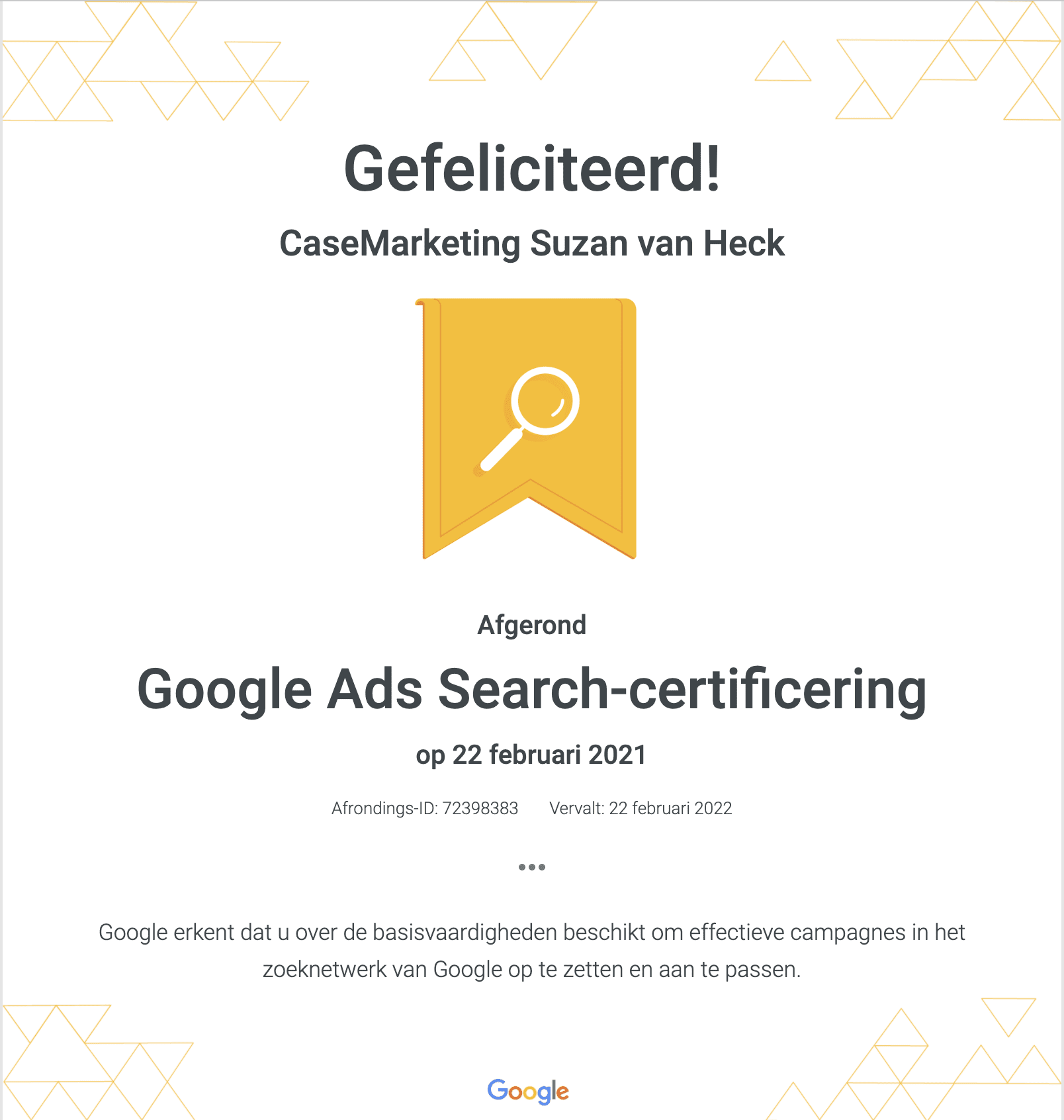 Google Partners Search Certificering