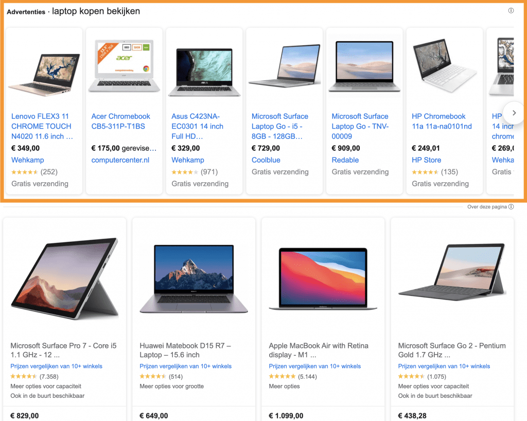 Betaalde en gratis Google Shopping resultaten