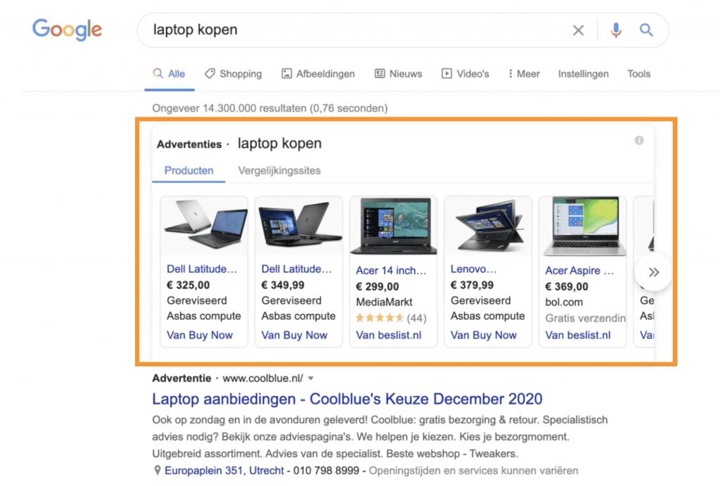 Google Shopping campagne in zoekresultaten