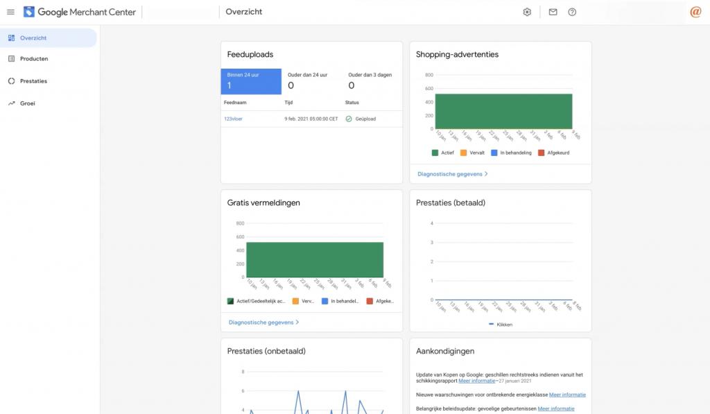 Google Merchant Center overzicht rondleiding