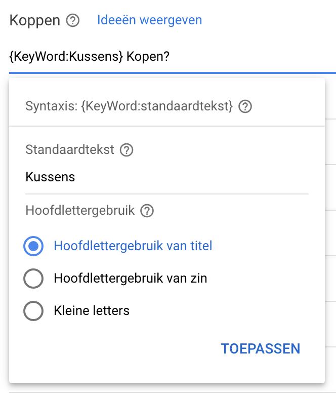 Keyword Insertion toevoegen in advertentie