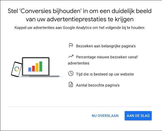 Google Ads account aanmaken - conversies bijhouden overslaan