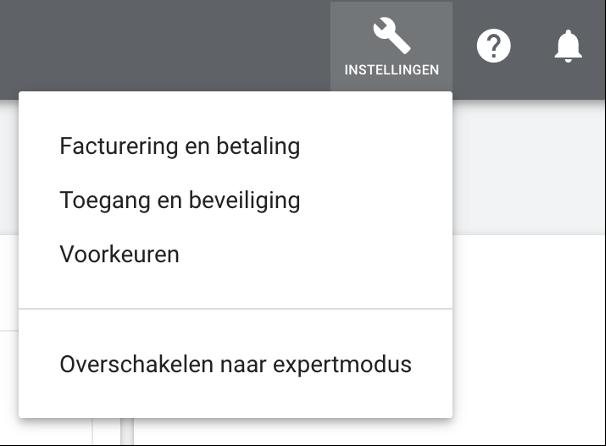 Google Ads account aanmaken - overschakelen naar expertmodus
