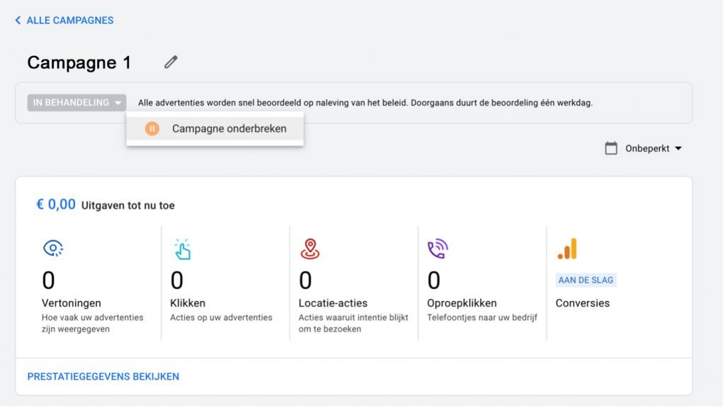 Google Ads account aanmaken - slimme campagne onderbreken
