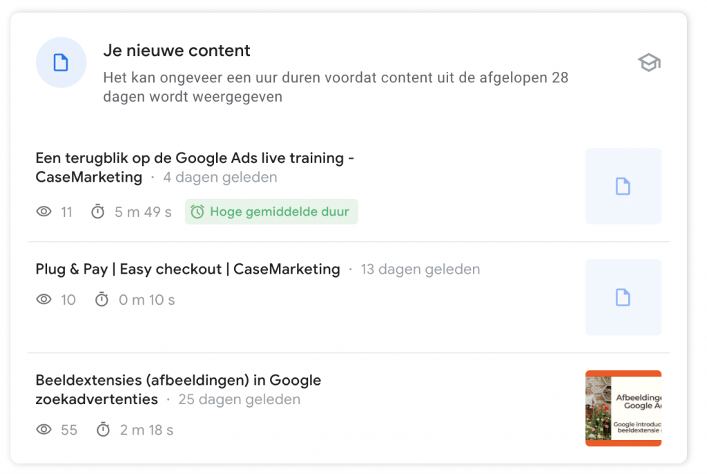 Search Console Insights - nieuwe content