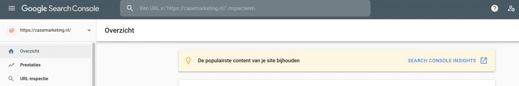 Google Search Console overzichtspagina