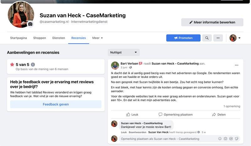 Facebook beoordelingen CaseMarketing