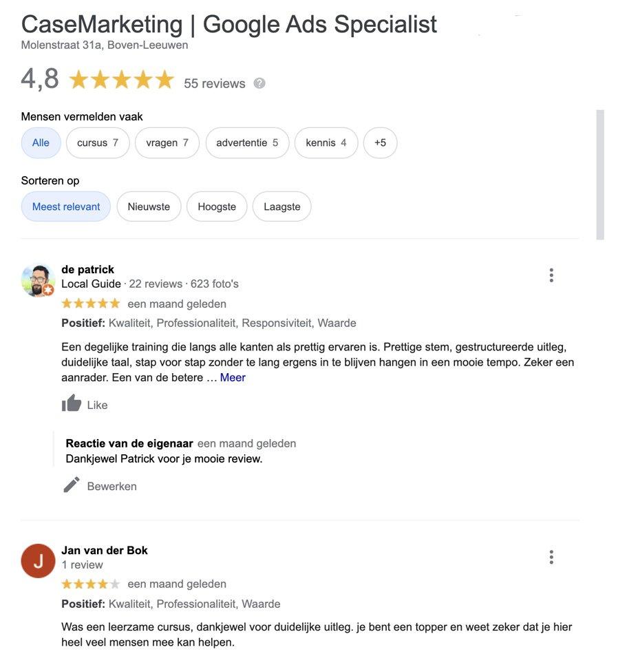 Google reviews CaseMarketing