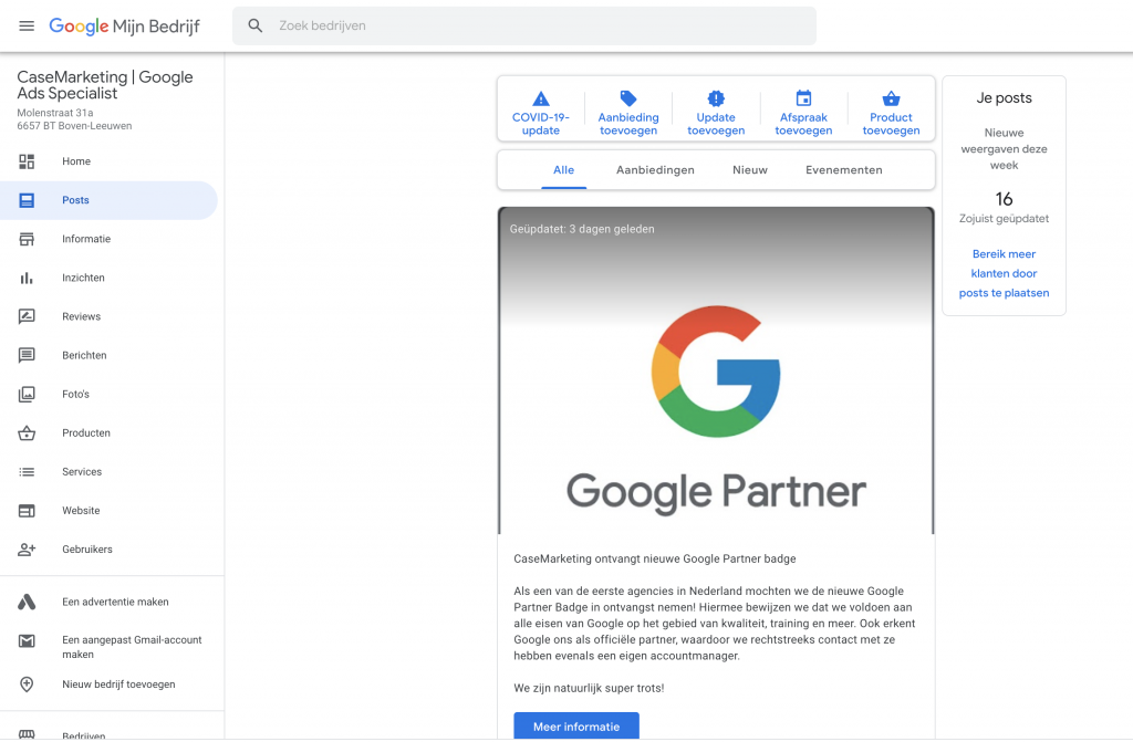 Google Mijn Bedrijf posts versturen