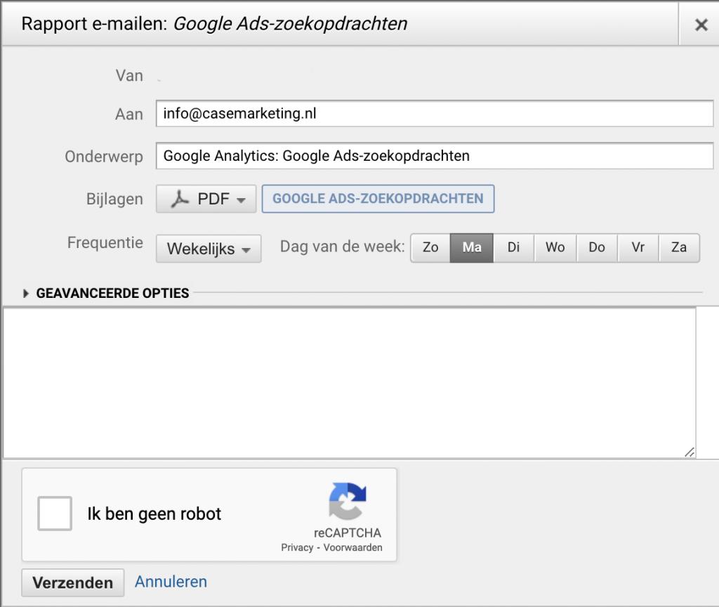Verborgen zoekopdrachten via e-mail